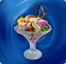 different assortments of ice creams (3 scoops at choice), fresh fruits (strawberry, raspberry, apricot, kiwi, bananas...), topping: strawberry or chocolate, cream, waffle rolls or sweet biscuit